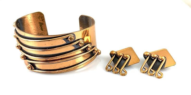 BIG Vintage 1950s RENOIR California Modern Handmade Copper Bracelet /& Earrings SET