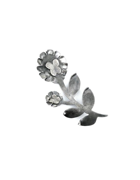 HUGE Vintage 1950s 60s Esther Lewittes Los Angeles California Handmade Sterling Silver Hippie Flower Butterflies Brooch PIN