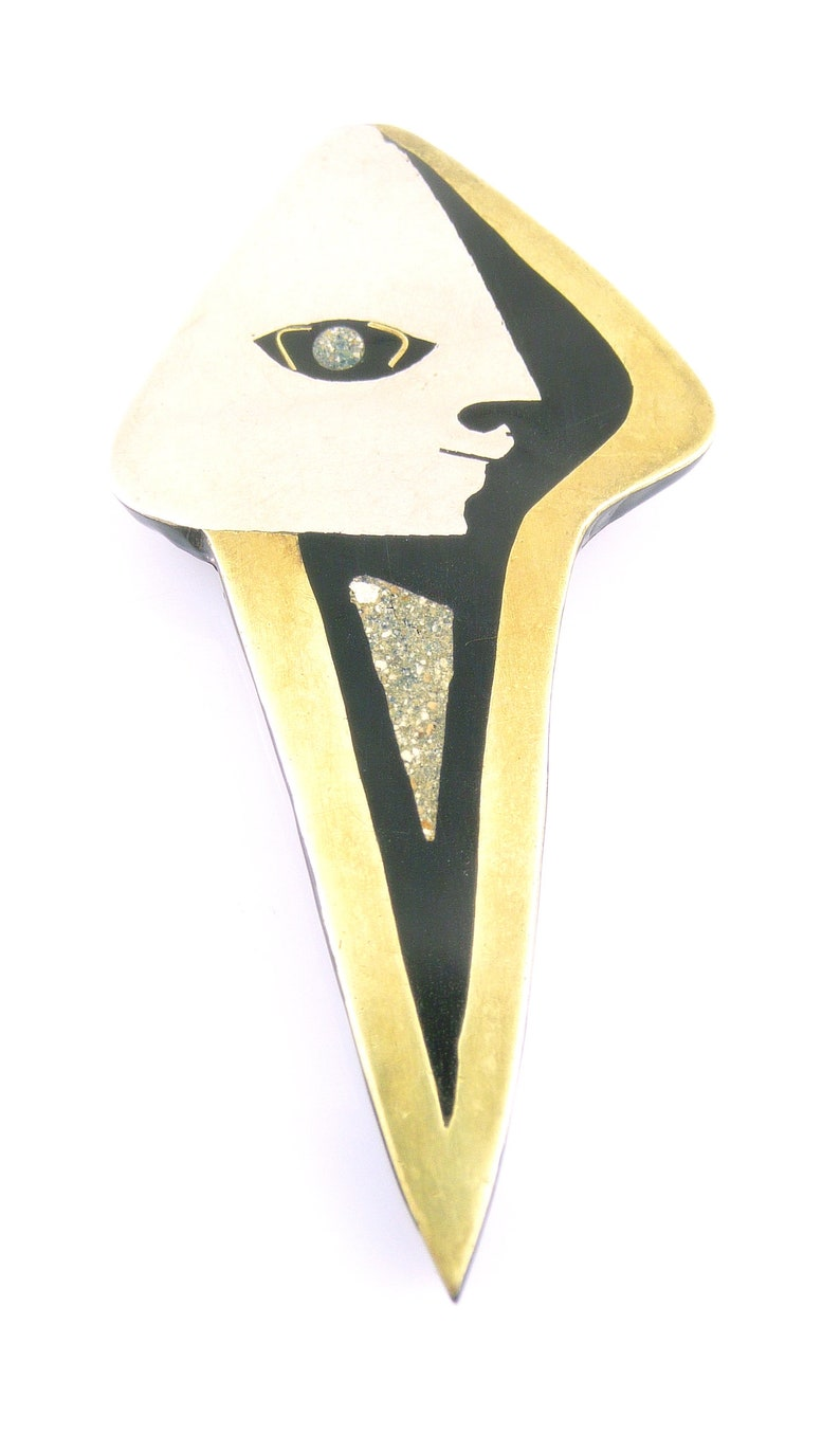 BIG 1950s 60s Signed Handmade Mixed Metals Sterling Brass /& Stone Mexican Modernist FACE Brooch PIN