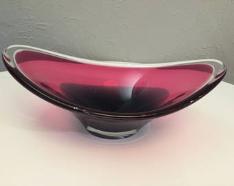 Danish Modern Flygsfors Coquille Cased Glass Bowl Paul Kedelv
