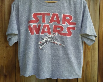 dde565849db7 Crop Top   Star Wars TShirt   Graphic Tee   Distressed   Grunge   Rocker Tee    Sci Fi   Heather Gray   Short Sleeve   Belly Tee   Cropped