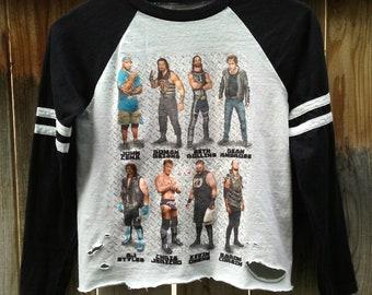 d5c528be3f0 Crop Top / WWE TShirt /Graphic / Distressed / Baseball Sleeves / John Cena  / Chris Jericho / Grunge / Rocker Tee / Sporty / Wrestling TShirt
