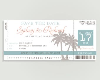 Travel Save The Date Etsy - Save the date ticket template