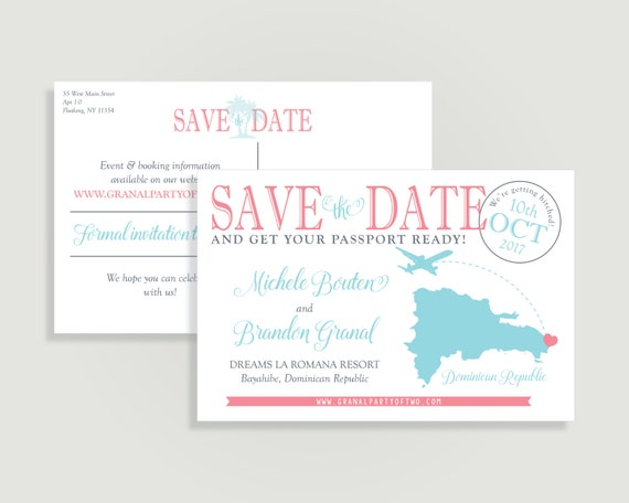 Destination Wedding Save the Date   Postcard Save the Date with