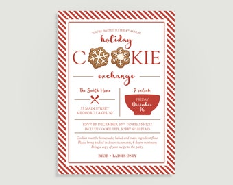 Holiday Cookie Exchange Invitation - Christmas Party Invitation - Cookie Swap - Personalized Printable File or Print Package  #00206-PIA7