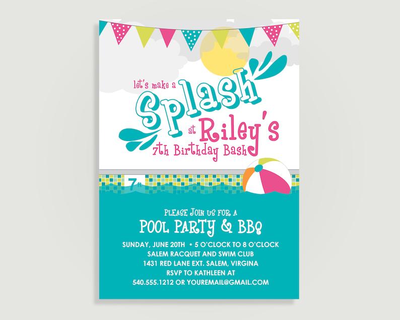 Pool Party Birthday Invitation Splash Bash Personalized