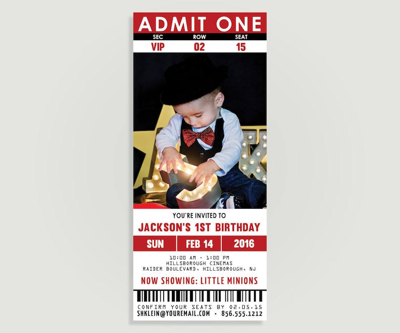 Movie Ticket Birthday Invitation - Movie Theater - Personalized Printable  File or Print Package Available - #00112T-PI10