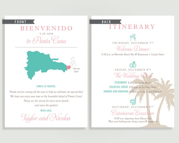 Destination Wedding Welcome Note Welcome Letter Beach Tropical