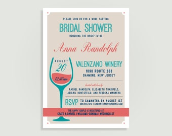 Winery Bridal Shower Invitation - Wine Tasting - Wine & Cheese Invite - Personalized Printable File or Print Package Available 00188--PIA7W