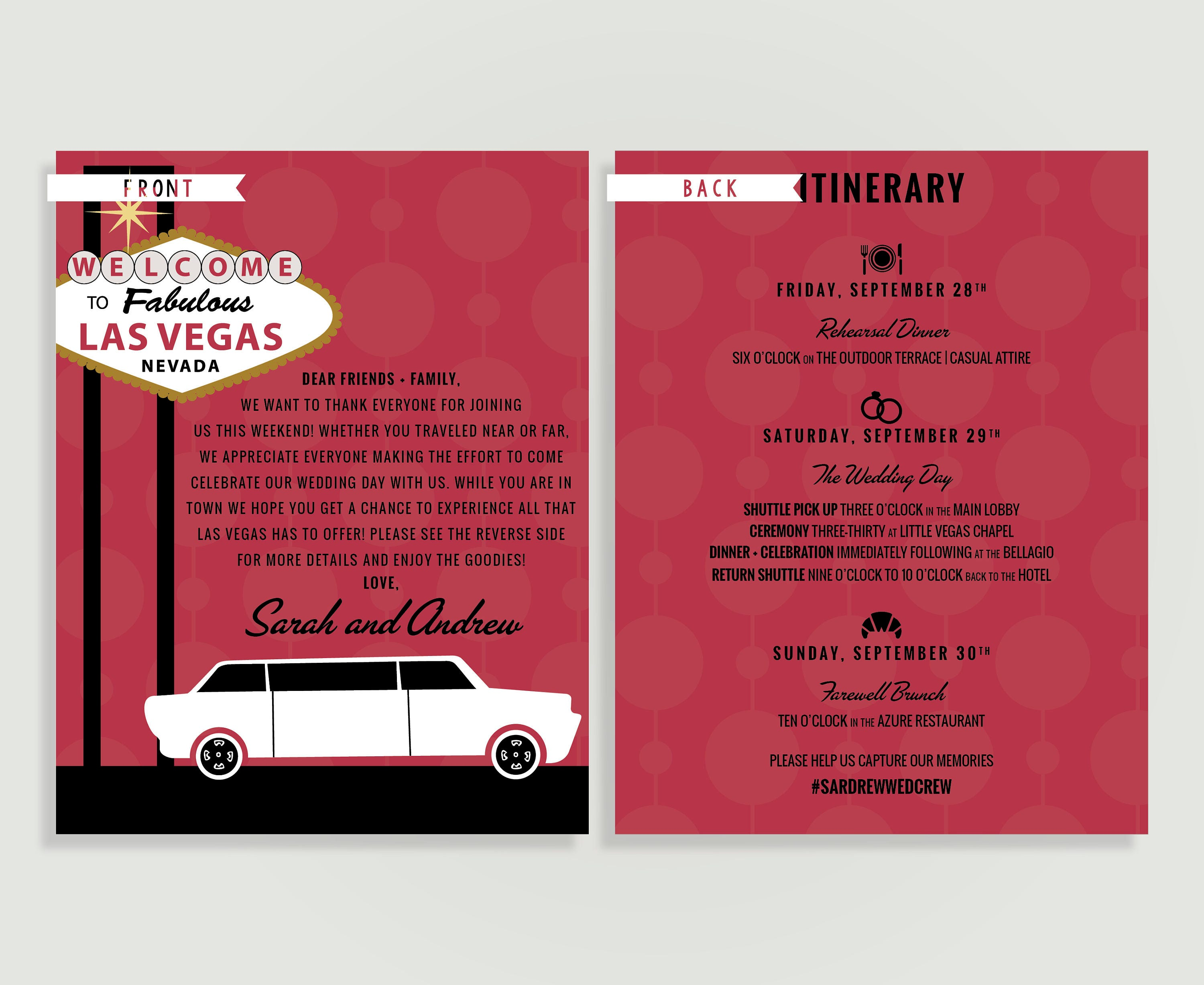 Las Vegas Wedding Welcome Note And Itinerary Welcome Letter