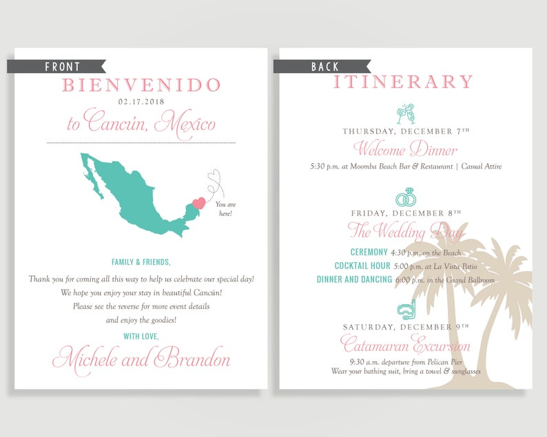 Mexico Wedding Welcome Note - Welcome Letter - Cancun - Personalized  Printable File or Print Package Available 00100-WNA6