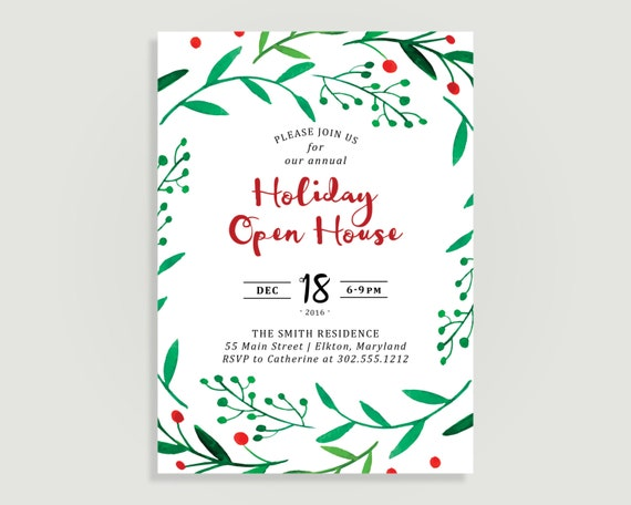 Christmas Party Invitation Holiday Open House Water Color Etsy