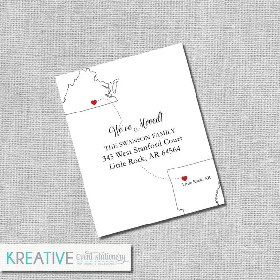 Moving Announcement - New State - Kraft Paper Available - Personalized Printable File or Printed - #00098-MAA2
