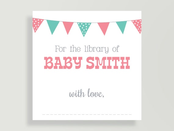 Book Plate Sticker For Childrens Book Baby Shower Wishing Well