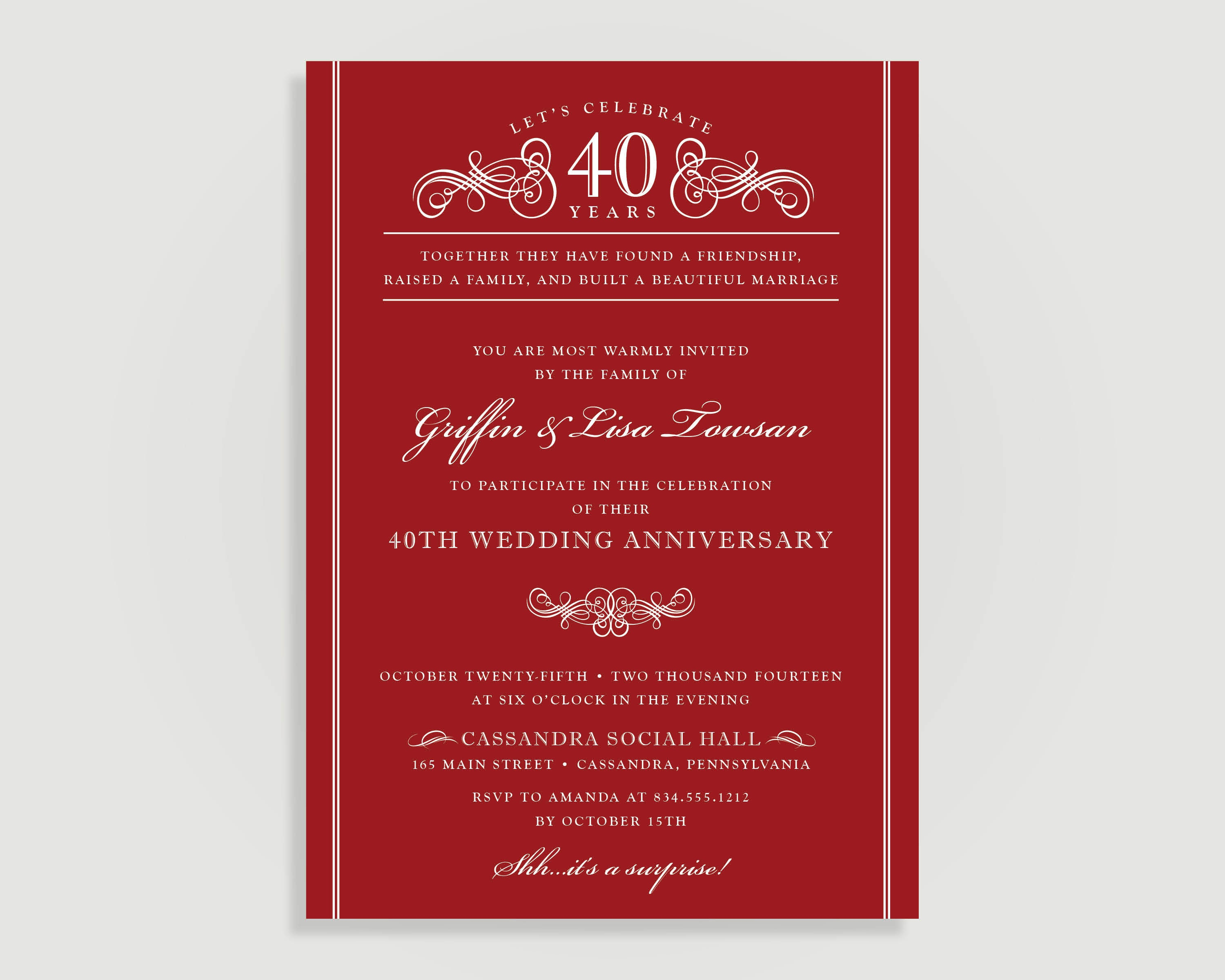 40th Anniversary Invitations Ruby Red Wedding Anniversary | Etsy