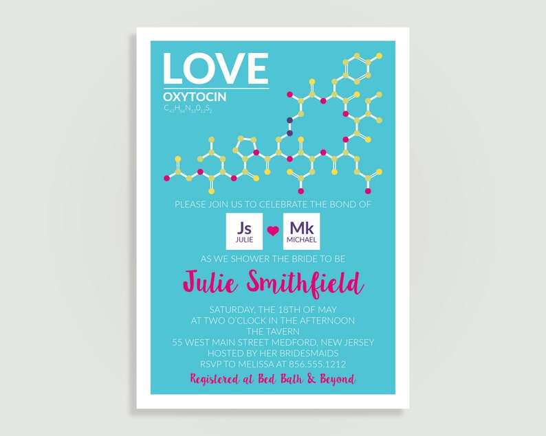 Chemistry Bridal Shower Invitation Periodic Table Geek Oxytocin Personalized Printable File Or Print Package C07C PIA701