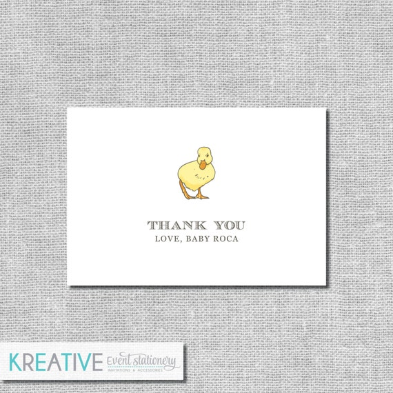 Baby Shower Thank You Cards Little Duckling Personalized