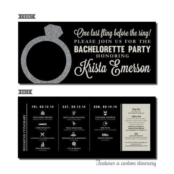 bachelorette party invitation with itinerary personalized