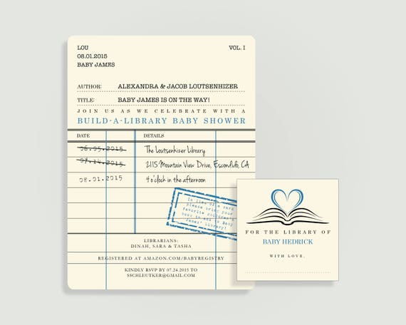 Library card invitation for baby shower with book plate etsy image 0 filmwisefo