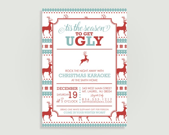 Ugly Christmas Sweater Invitation Tacky Christmas Party