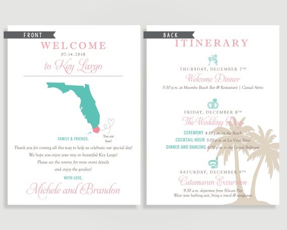 Florida Wedding Welcome Note Welcome Letter Naples Key West