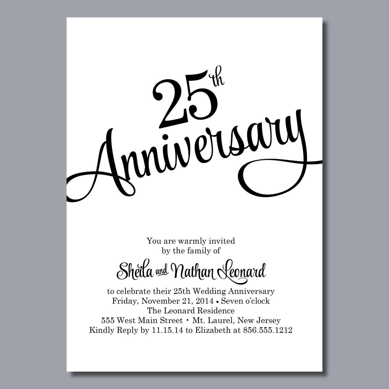 25th wedding anniversary invitation personalized printable etsy