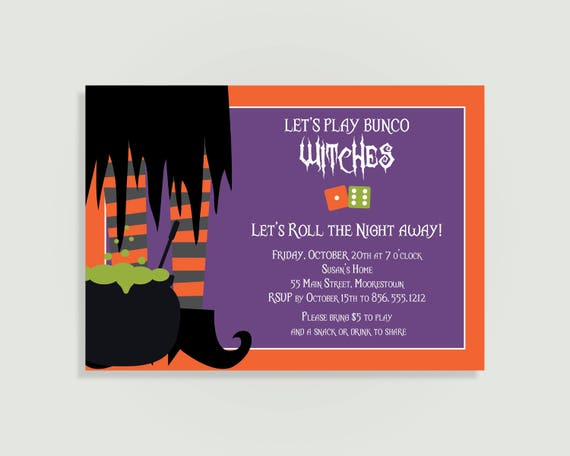 Halloween Bunco Invitation Let S Play Bunco Witches Personalized