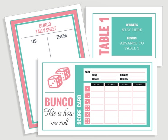 image about Free Printable Bunco Score Cards known as This is how we roll Bunco Rating Card Preset - Us Them Tally