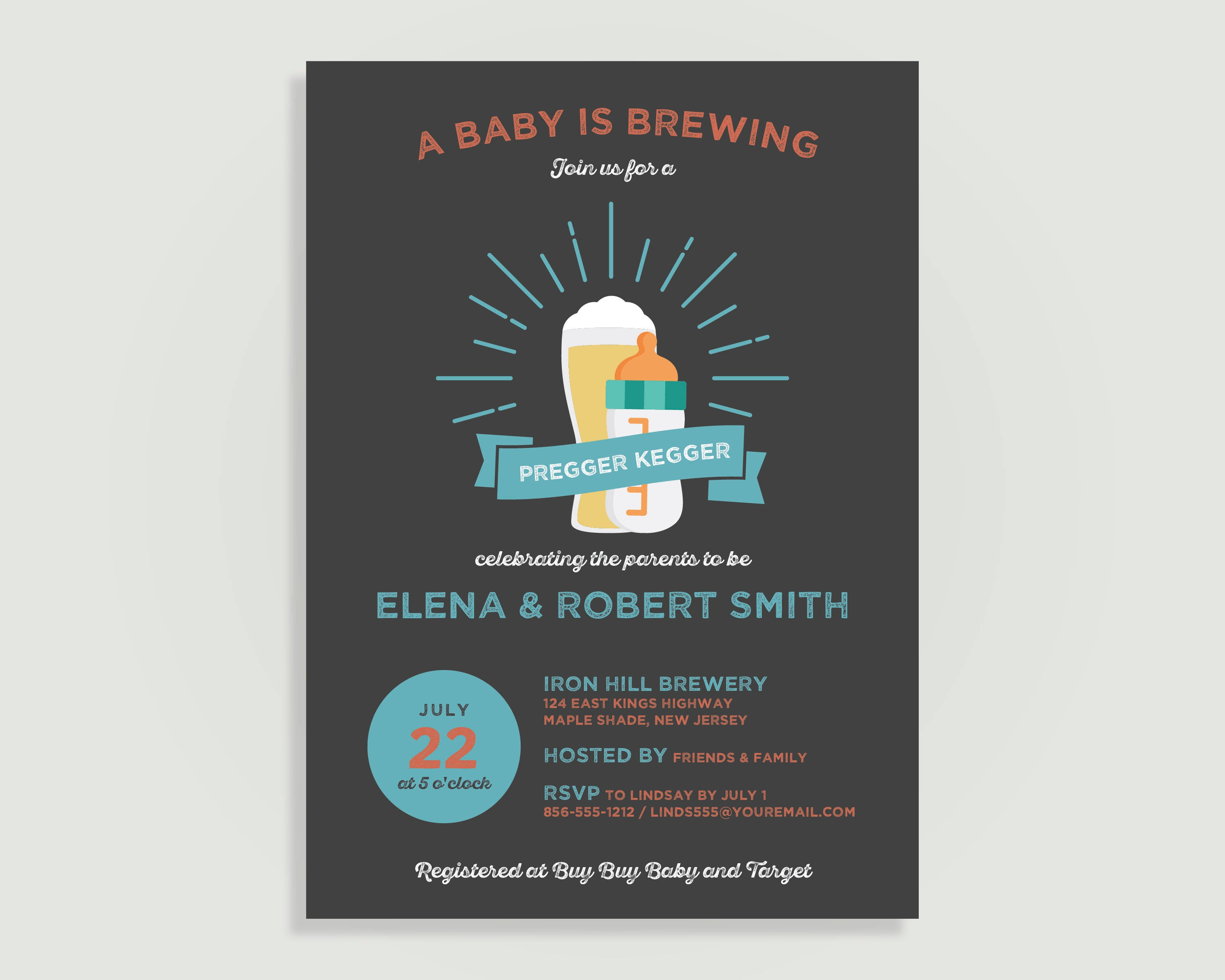 A Baby is Brewing Baby Shower Invitation Pregger Kegger