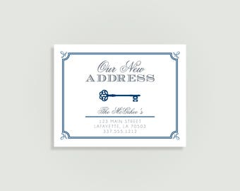 Change of Address Announcement - Key - New Address  - Kraft Paper Available - Personalized Printable File or Printed - #00083-MAA2