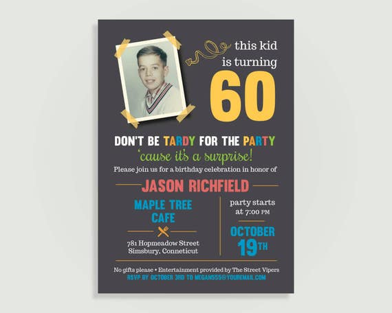 Surprise 60th birthday party invitation with picture 50th etsy image 0 filmwisefo