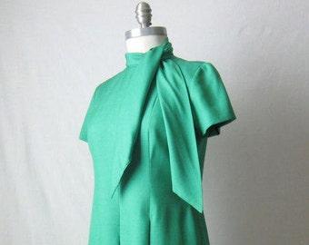 1960s Dress / Bill Blass Green Silk Dress / Neck Tie Mini Dress / 60s Dress
