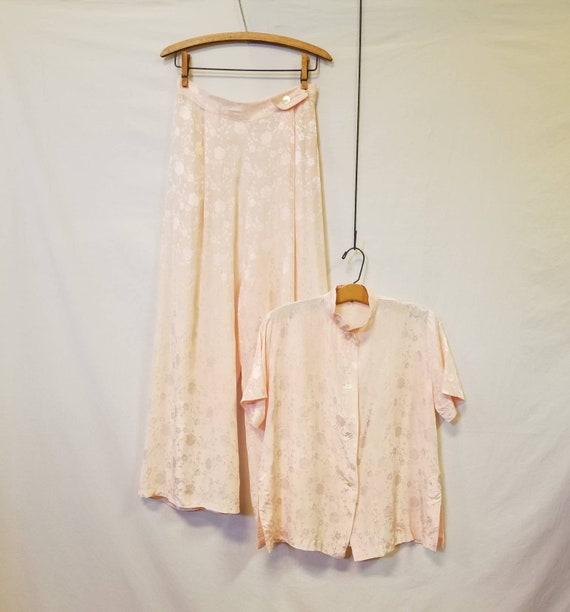 1940s Pajamas / Vintage Loungewear / Wide Leg Paja