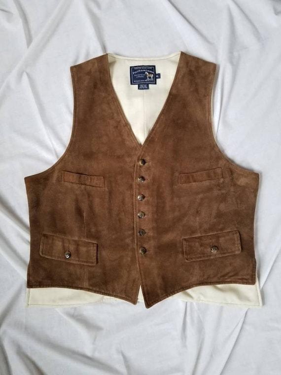 Ralph Lauren Vest / Vintage 80s Suede Vest / Polo