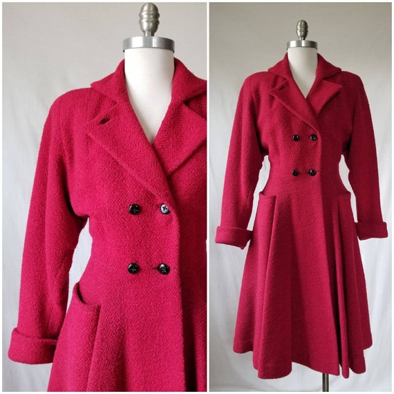 1950s Princess Coat / Vintage Red 50s Coat / Nippe