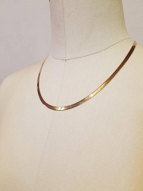 14K Necklace / Gold Herringbone Chain / Gold Neckl