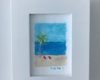 Beach Chairs Watercolor - Miniature Giclee Print