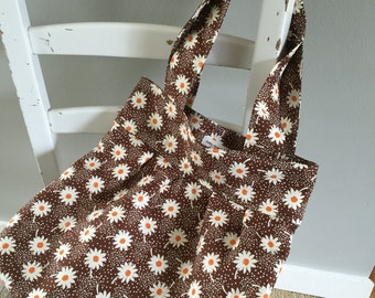 Pleated Tote Bag, Tote Bag, Vintage Floral Tote, Feedsack Floral Tote, Gift Idea, Gift for Her, Ready to Ship
