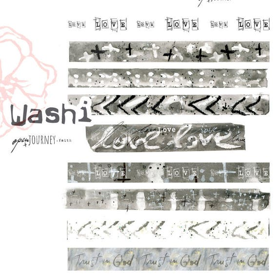 Washi Strips, Love theme  - digital download for bible journaling, card making and craft