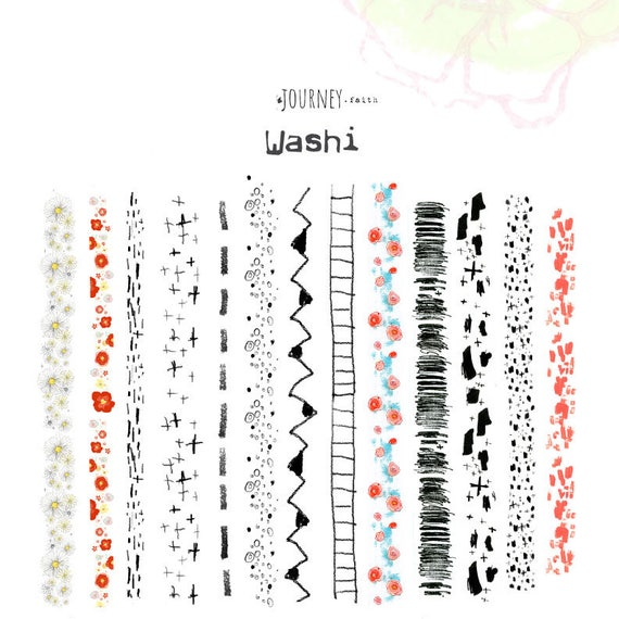 Washi Strips -abstract and floral  - digital download for bible journaling, card making and craft