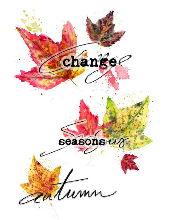Change is Beautiful - digital download fall leaves and hand lettered titles for Bible Journaling