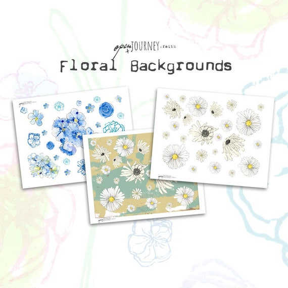 Watercolor floral elements and backgrounds - digital download for bible journaling, card making and craft