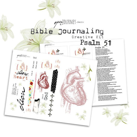 Psalm 51 - a Bible journaling creative kit -digital download