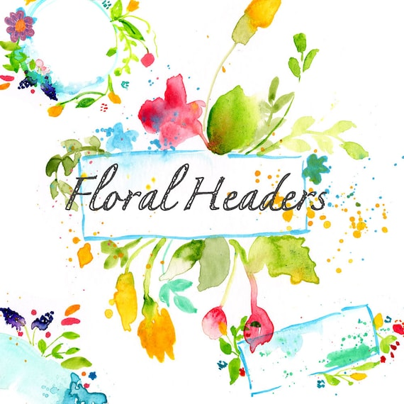 Watercolor floral headers- floral art- digital download
