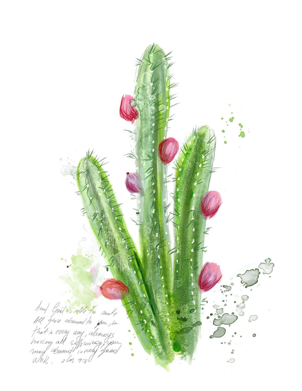 inspirational christian art peruvian cactus illustration with bible