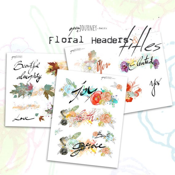 Floral Headers and Titles - digital download for bible journaling, card making and craft