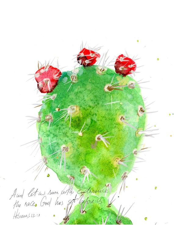 Inspirational christian art: Prickly Pear Cactus illustration with bible verse