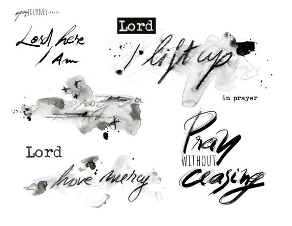 Prayer Journal Elements- journaling art-digital download