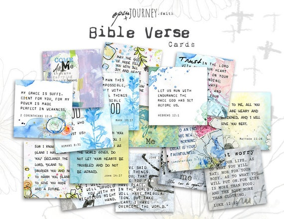 Inspirational Bible Verse Cards and art - set of 24 - digital download