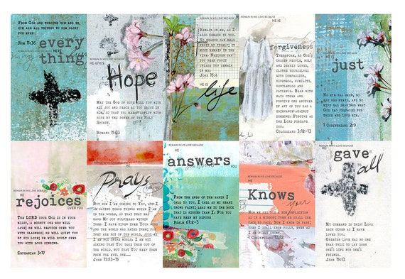 Remain in My Love - set of 40 Bible Journaling Cards -digital download